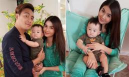 Vợ chồng Thanh Duy chụp ảnh với con trai Xuân Mai ở Mỹ