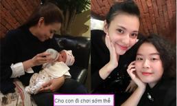 Chưa đầy tháng, Hồng Quế đã đưa con gái đi chơi với Trang Nhung