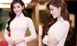 Huyền My mặc áo dài trắng duyên dáng gây ấn tượng trước Hoàng tử Anh