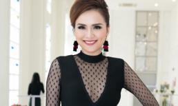 Hoa hậu Diễm Hương khoe vòng một lấp ló với đầm ren đen quý phái