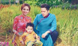 Ngày xuân, gia đình Hoa hậu Diễm Hương cùng diện áo dài