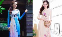 Hoa hậu Diễm Hương khoe sắc với áo dài mang phong cách hội họa