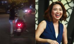 Lê Khánh được chồng hộ tống bằng xe máy bình dân đi làm giám khảo