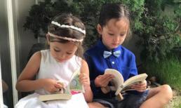 Hai con của Hồng Nhung đáng yêu khi vui chơi trong vườn