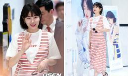 Suzy trẻ như học sinh cấp 3 trong trang phục kẻ nổi bật