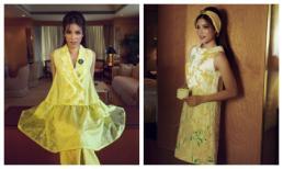 Phạm Hương hoá quý cô mùa hạ với hoạ tiết hoa tử đằng, mimosa
