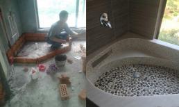 Tự xây bồn tắm đẹp như khách sạn 5 sao với chi phí chỉ hơn 1 triệu