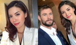 Diện vest trắng, Minh Tú cực quyến rũ sánh vai bên 'Thor' Chris Hemsworth