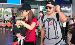 Vợ chồng Phạm Văn Phương - Lý Minh Thuận tay trong tay xuất hiện tại sân bay Tân Sơn Nhất