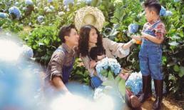 Hải Băng và Thành Đạt cùng các con dạo chơi trong vườn hoa cẩm tú cầu
