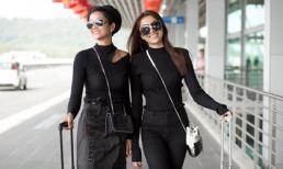 Á hậu Lệ Hằng thả dáng cùng Hoa hậu H'hen Niê tại sân bay