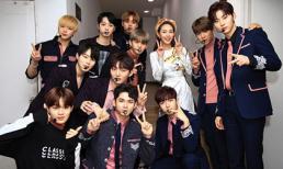 Minh Hằng diện áo dài xinh đẹp bên cạnh nhóm nhạc Hàn Wanna One