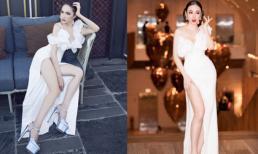 Vừa bị soi đi giày cũ, Hoa hậu Hương Giang lại đụng váy xẻ đùi cao tận eo của Angela Phương Trinh