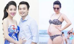 Diễn viên Lê Khánh diện bikini khoe bụng bầu 5 tháng