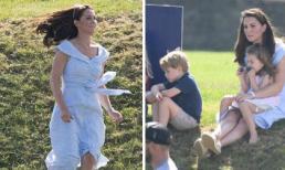 Công nương Kate Middleton chọn đầm tông xanh khi cùng 2 con đi xem ông xã thi đấu polo