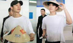 Soái ca 'Chị đẹp mua cơm ngon cho tôi' Jung Hae In đội nón lá, hạnh phúc trong vòng vây fan Việt