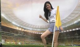 Á hậu Thanh Tú xuất hiện tại Nga để cổ vũ trận chung kết World Cup 2018