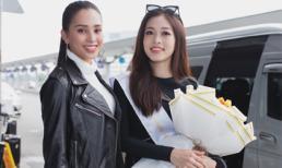Vừa trở về từ Pháp, Trần Tiểu Vy ở lại sân bay để tiễn Bùi Phương Nga lên đường thi Miss Grand International 2018