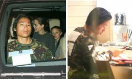 Con trai nuôi gốc Việt giữ mặt lạnh te, dán mắt vào điện thoại khi cùng Angelina Jolie và 2 em đi chơi