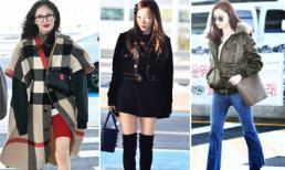 Lạnh đến mấy các mỹ nhân Hàn cũng nghĩ ra đủ style khoe dáng ở sân bay