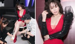 Nhật Kim Anh vẫn 'gồng' xuất hiện rạng rỡ dù bị mảnh kính lớn đâm xuyên chân
