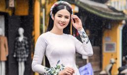 Hoa hậu Ngọc Hân diện áo dài truyền thống lấy cảm hứng từ ca dao tục ngữ