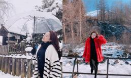 Sau bao năm mơ ước, Bảo Thy lần đầu được ngắm tuyết rơi dày đặc ở Nhật Bản