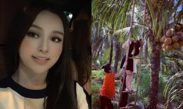 Huyền Baby trổ tài leo thang hái dừa, song bộ váy cô mặc mới là điều khiến dân tình không rời mắt
