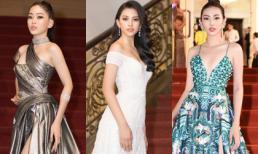 Tiểu Vy cùng Phương Nga, Thuý An và Thuỳ Tiên 'chị chị em em' rực rỡ trên thảm đỏ Mai Vàng 2018