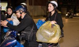 Vừa khỏi ốm, Huyền My đi xe máy khắp Hà Nội tặng quà Tết từ thiện cho người vô gia cư