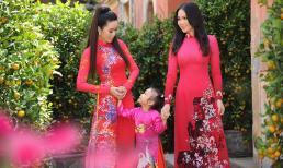 Trịnh Kim Chi diện áo dài thướt tha cùng hai con gái dạo phố xuân