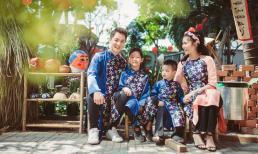 Đầu năm, gia đình Đăng Khôi – Thủy Anh rủ nhau diện áo dài tông xuyệt tông đón Tết