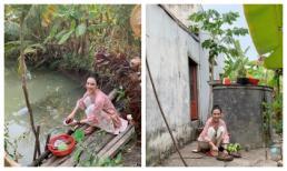 Chị em Angela Phương Trinh về quê rửa bát bờ ao, vác dao chặt chuối