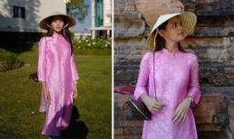Mỹ nhân Thái Lan Yaya Urassayas diện áo dài, đội nón lá khi cùng gia đình đi du lịch ở Việt Nam