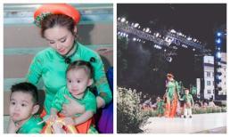 Con gái Vy Oanh bộc lộ tiềm năng nghệ thuật, dạn dĩ catwalk cùng mẹ và anh