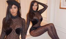 Choáng váng với váy da báo giả bikini, khoe hình thể quá đà của Kim Kardashian