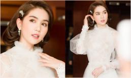 Ngọc Trinh như 'thiên thần váy trắng' trong đêm chung kết Hoa hậu Áo dài