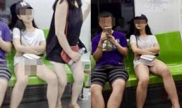 Cô gái đi tàu không mặc quần lót, hồn nhiên ngồi dạng chân khiến người đối diện đỏ mặt