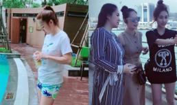 Chụp ảnh cùng bạn bè, Lê Phương lộ thân hình 'phát tướng' khi mang thai