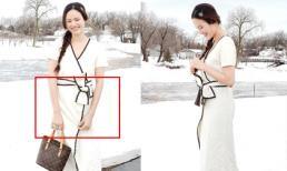 Người mẫu Tuyết Lan diện đầm cộc tay mỏng manh giữa trời tuyết trắng dù đang mang bầu