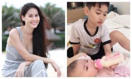 Thân Thuý Hà khoe khoảnh khắc con trai lớn cho em gái bú bình khiến fan tan chảy