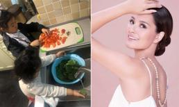 Chẳng quá cưng chiều con, Hoa hậu đẹp nhất châu Á - Hương Giang rèn hai bé làm việc nhà từ sớm thế này