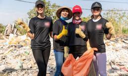 Hoa hậu H'Hen Niê cùng Á hậu Hoàng Thuỳ và Mâu Thuỷ hưởng ứng phong trào dọn rác