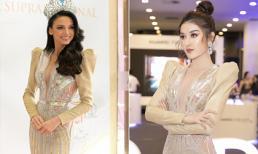 Á hậu Huyền My 'đụng hàng' váy xẻ táo bạo với Hoa hậu Siêu quốc gia 2018