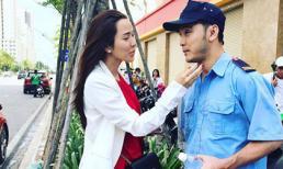 Bà xã Ưng Hoàng Phúc vác bụng bầu ba tháng đến phim trường thăm chồng