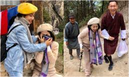 Mai Phương bật khóc khi chinh phục đỉnh núi cao ở Bhutan sau khi cuốc bộ leo núi 4km