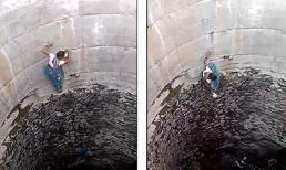 Rùng mình cảnh phụ nữ Ấn Độ tay không leo vách giếng dựng đứng để lấy nước