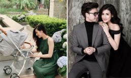 Á hậu Tú Anh xinh đẹp cùng con đi dạo, không quên khen chồng đẹp trai