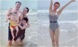 Vy Oanh khoe body nóng bỏng trong chuyến du lịch biển cùng chồng và hai con