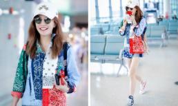 'Én nhỏ' Triệu Vy nổi bật nhất sân bay: Mặc áo sặc sỡ, đi giày cọc cạch